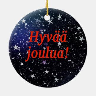 Hyvää joulua! Merry Christmas in Finnish rf Round Ceramic Decoration