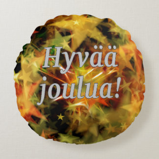 Hyvää joulua! Merry Christmas in Finnish wf Round Cushion