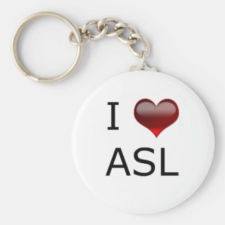 I <3 ASL BASIC ROUND BUTTON KEY RING