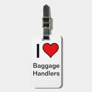 """I <3 Baggage Handlers"" Luggage Tag- Red Heart Luggage Tag"