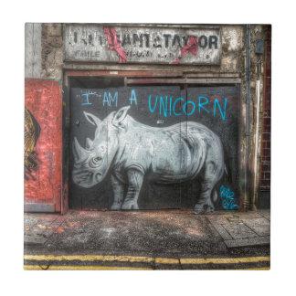 I Am A Unicorn, Shoreditch Graffiti (London) Small Square Tile