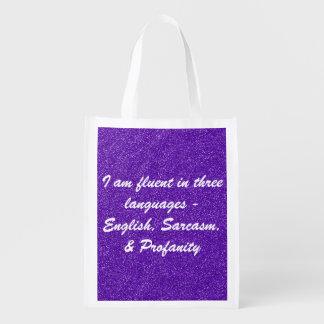 I am fluent in three languages reusable bag