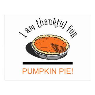 I am Thankful for Pumpkin Pie Postcard