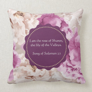 """""""I am the Rose of Sharon"""" Floral Decorative Pillow"""