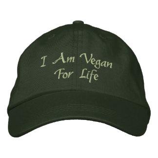 I Am Vegan For Life. Green. Slogan. Custom Embroidered Hat