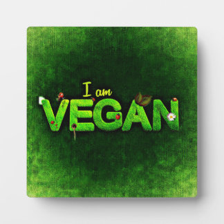 I Am Vegan Written With A Grassy Nature Texture Plaque