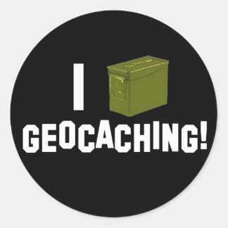 I (Ammo Can) Geocaching! Classic Round Sticker