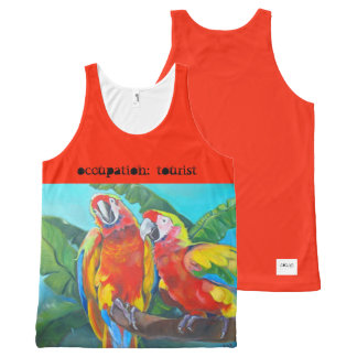 i Art and Designs, Tropical Birds Orange Tank All-Over Print Tank Top