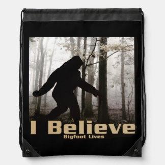 I Believe Bigfoot Lives Drawstring Bag