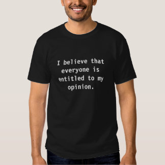 I believe that everyone is entitled to my opinion. tshirts