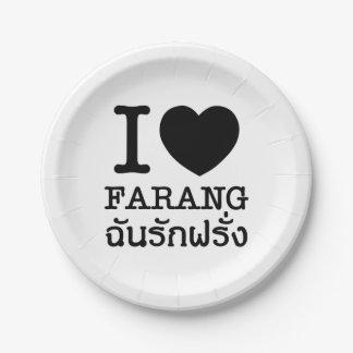 I Black Heart (Love) Farang Paper Plate