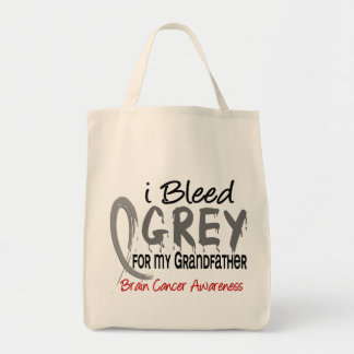 I Bleed Grey For My Grandfather Brain Cancer Grocery Tote Bag