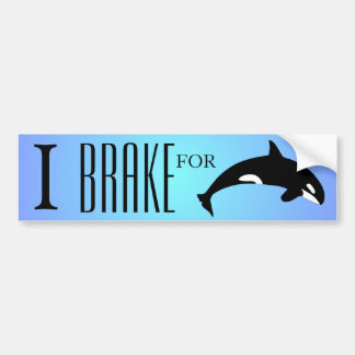 I Brake for Orca Killer Whale Silhouette Blue Car Bumper Sticker