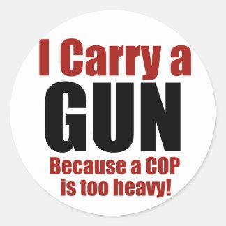 I Carry a Gun Round Sticker