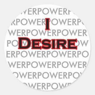 I Desire Black-Red POWER Round Sticker
