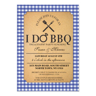 I DO BBQ Blue Vintage Party Engagement Invitation
