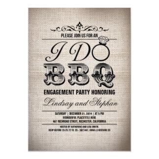I do BBQ burlap engagement party invitation