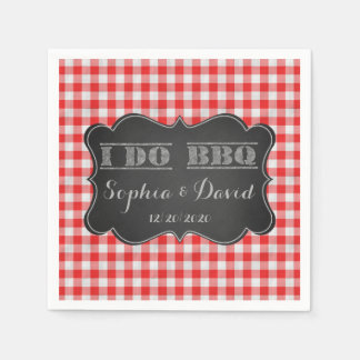 I DO BBQ Rustic Engagement Party Custom Disposable Serviette