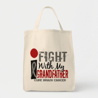 I Fight With My Grandfather Brain Cancer Grocery Tote Bag