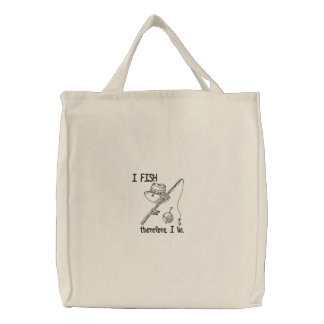 I Fish Embroidered Tote Bag