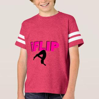 I Flip tumbling Striped Sleeve V-Neck T-Shirt