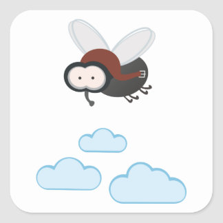 I fly so high - puck the housefly square sticker