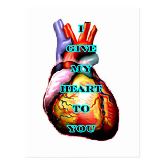 I Give My Heart To You Black Cyan The MUSEUM Zazzl Postcard