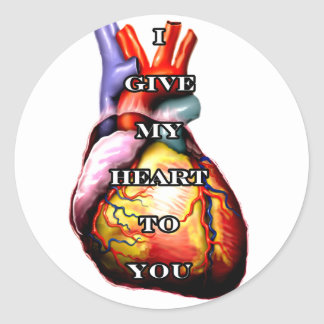 I Give My Heart To You White The MUSEUM Zazzle Gif Round Stickers