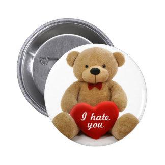 """I hate you"" cute teddy bear holding love heart 6 Cm Round Badge"