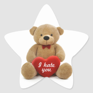"""I hate you"" cute teddy bear holding love heart Stickers"
