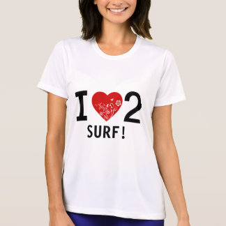I HEART 2 SURF on front, cool tattoo design back Tshirts