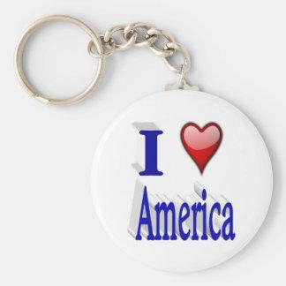I Heart America 3D Key Chains, Red & Blue Key Ring