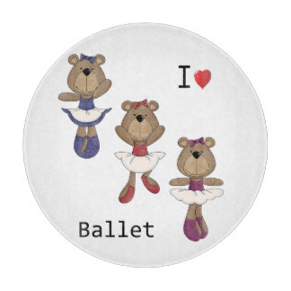 I Heart Ballet Bear Ballerina's Cutting Boards
