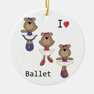 I Heart Ballet Bear Ballerina's Round Ceramic Decoration