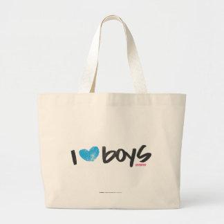 I Heart Boys Aqua Large Tote Bag