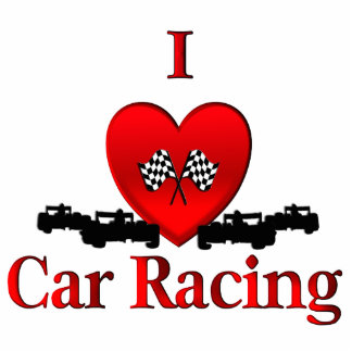 I Heart Car Racing Standing Photo Sculpture
