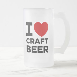 I Heart Craft Beer Frosted Beer Mugs