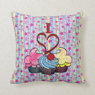I Heart Cupcakes Pillow Cushion