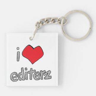 i heart editerz square keychain