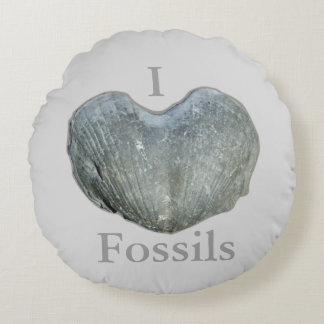 I Heart Fossils Round Pillow