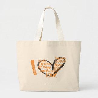 I Heart Graffiti Orange Large Tote Bag