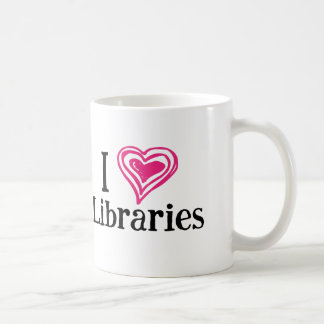 I [Heart] Libraries (black/pink) Coffee Mug