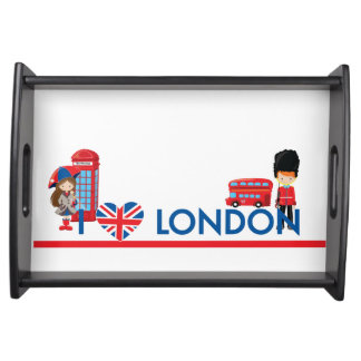 I Heart London With Phone Booth Bus and More Serving Tray