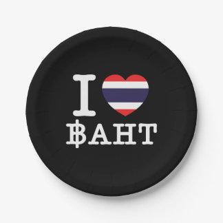 I Heart (Love) Baht Paper Plate