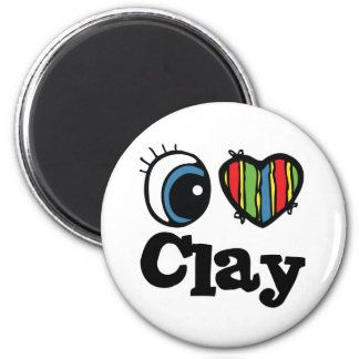 I Heart (Love) Clay 6 Cm Round Magnet