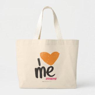 I Heart Me Orange Large Tote Bag