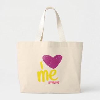 I heart Me Purple/Yellow Large Tote Bag