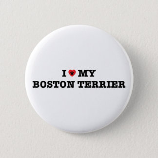 I Heart My Boston Terrier Button