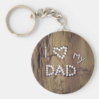 I Heart My Dad on Wood Graphic Key Ring