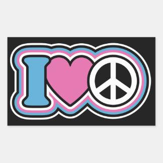 I HEART PEACE RECTANGULAR STICKERS